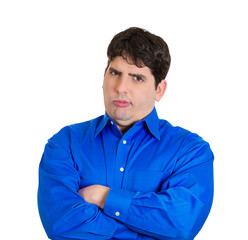 Suspicious, skeptical young man, unhappy with situation