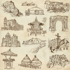 Famous places and Buildings (set no. 12, old paper)
