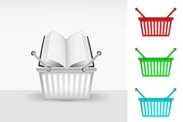 open book in shopping basket colorful set concept vector