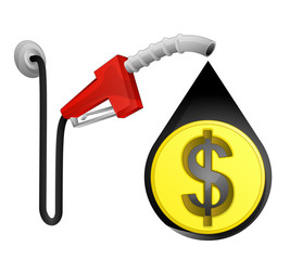 Dollar coin in oil drop with pump station vector