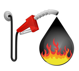 fire flames in oil drop with pump station vector