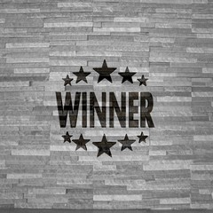 3d graphic of a happy winner label  on noble stone texture