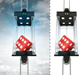lucky dice in sky elevator concept also isolated one
