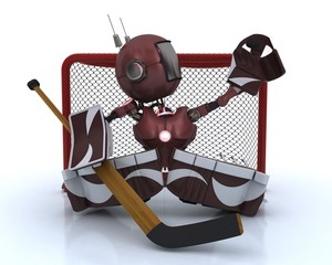 Android playing ice hockey