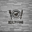 healthy food sign  on noble stone texture