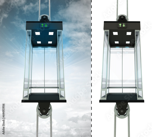 empty sky elevator concept with isolated elevator - 64493906