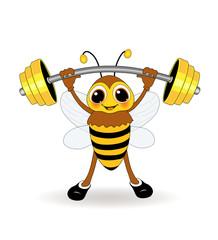 Biene als Gewichtheber
