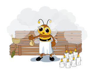 Biene in der Sauna (Wachs herstellung)