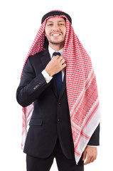 Arab man in success concept isolated on white