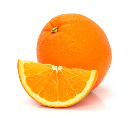 Orange fruit with slice isolated on white background