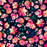 Bright painted flowers ~ seamless vector background