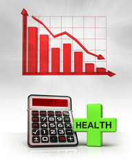 health cross with negative business calculations and graph