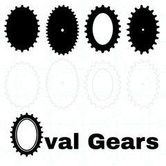 Set of oval or elliptical gears