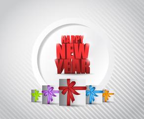 happy new years card illustration design