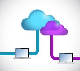 cloud computing and tablet connection illustration
