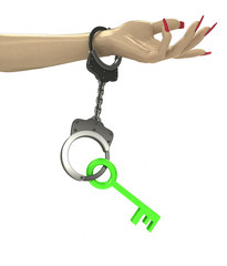 green key in chain as criminality concept double