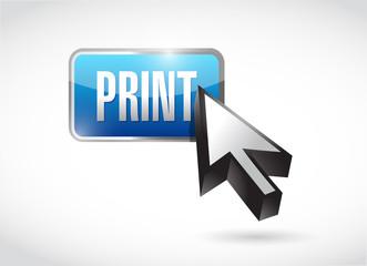 print blue button icon illustration design