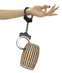 beverage keg attached with chain to human hand