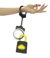 security padlock attached with chain to human hand