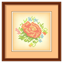 Embroidery, Flower Bouquet Cross Stitch, Mahogany Picture Frame