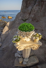 Detail of party decoration on the sea shore.