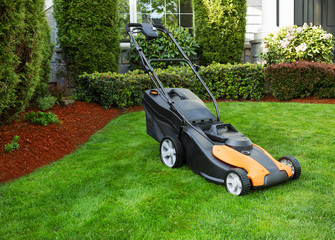 Electric Battery Lawn Mower on Front Yard