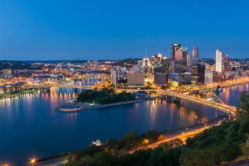 Pittsburgh downtown skyline at night, pennsylvania, USA