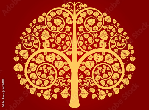 Gold Buddha tree pattern on a red background - 64497113