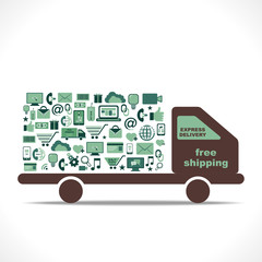 free shipping design with e-commerce icon vector