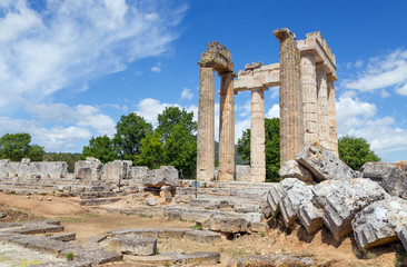 Temple of Zeus in ancient Nemea, Peloponnese, Greece