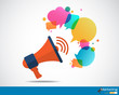 Megaphone with cloud of colorful speech bubble - 64498377
