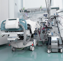 ICU with serious patient