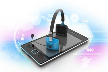 Modern headphones and smart phone