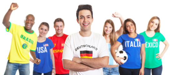 Deutscher Fussball Fan mit anderen Fans