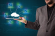 Businessman showing hand drawn cloud computing