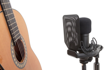 Recording classical guitar with studio microphone