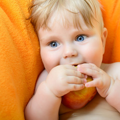 Little baby boy portrait eating red apple