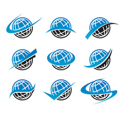 Swoosh Globe World Icons