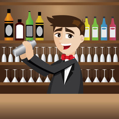 cartoon bartender with shaker at bar