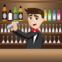 cartoon bartender with shaker at bar