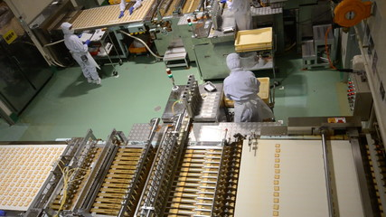 People and Machine Producing Biscuits in Factory