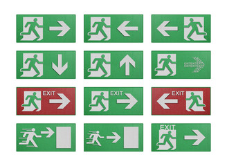 paper cut of run to exit label for emergency with escape sign fr