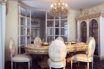Royal furniture in luxury baroque interior