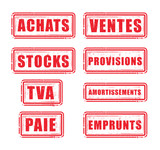 tampons comptabilité : achats, ventes, stocks, provision, TVA poster