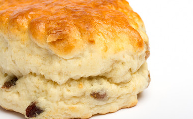 Close up image of a fruit scone