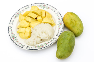 Mango and sticky rice dish 1