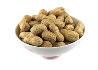 Peanuts in white bowl