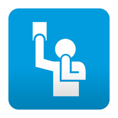 Etiqueta tipo app azul simbolo arbitro
