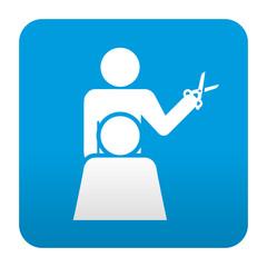 Etiqueta tipo app azul simbolo peluqueria