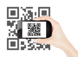 Woman hand scanning qr code with smart phone
